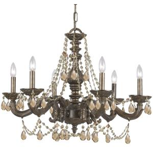 Paris Market - 6 Light Chandelier in natural, organic, and raw Style - 28 Inches Wide by 22 Inches High