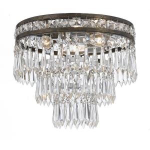 Mercer Crystal 3 Light Ceiling Mount in natural, organic, and raw Style - 12 Inches Wide by 9.25 Inches High