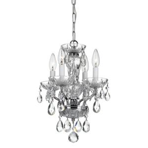 "Traditional Crystal - 15"" Four Light Chandelier"