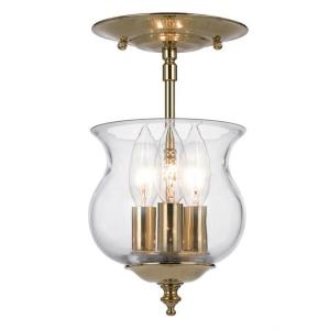 Ascott Colonial 3 Light Ceiling Mount Brass in Minimalist Style - 6.5 Inches Wide by 11.5 Inches High