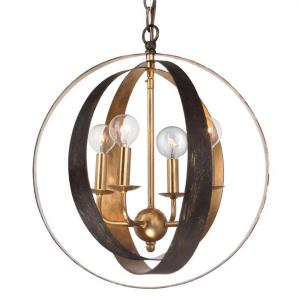 Luna - Four Light Sphere Chandelier in natural, organic, and raw Style - 16 Inches Wide by 18 Inches High
