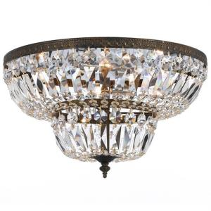6 Light Flush Mount in natural, organic, and raw Style - 24 Inches Wide by 14 Inches High
