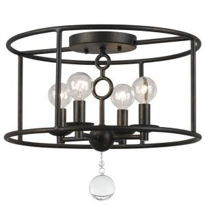 Cameron Industrial 4 Light Ceiling Mount Wrought Iron
