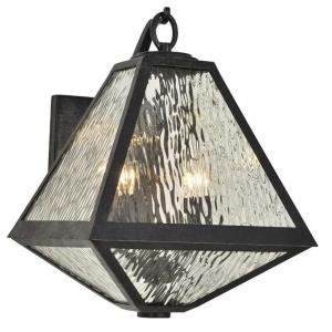Glacier - Two Light Outdoor Wall Mount in natural, organic, and raw Style - 11 Inches Wide by 16.75 Inches High