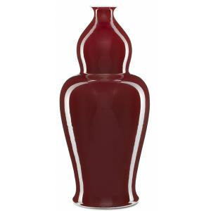 "Oxblood - 24.5"" Large Elongated Double Gourd Vase"