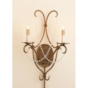 2 Light Crystal Lights Wall Sconce