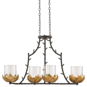 Water-Lily - Four Light Rectangular Chandelier