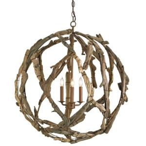 Driftwood - Three Light Orb Chandelier