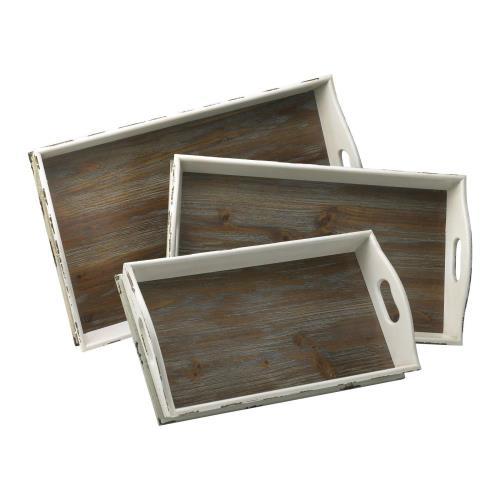 Cyan lighting 02470 26 Inch Alder Nesting Tray - Set of 3