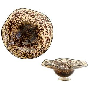 19.75 Inch Large Leopard Art Glass Bowl