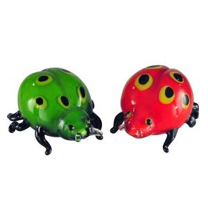 "6"" 2-Piece Lady Bug Art Glass Sculpture"
