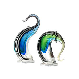 "7.25"" 2-Piece Deco Elephant Art Glass Sculpture"