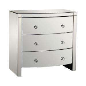 """Claire - 33"""" Bow Front 3-Drawer Mirror Chest"""