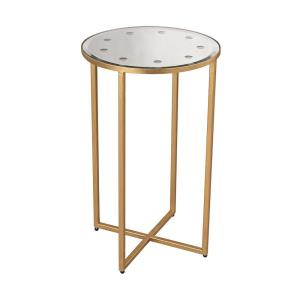 "Cross Base - 26"" Mirror Top Side Table"