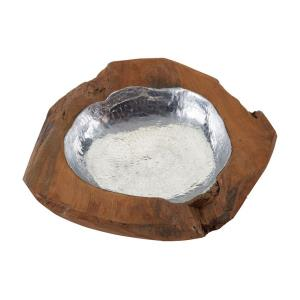 Teak - 24 Inch Small Round Bowl With Aluminum Insert