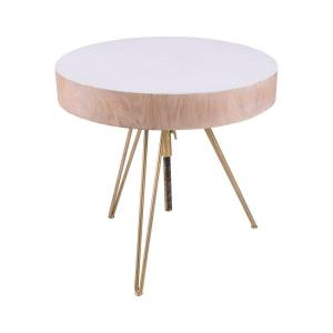 "Biarritz - 20.9"" Suar Wood Accent Table With Metal Legs"