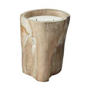 12 Inch White Pepper Log Candleholder