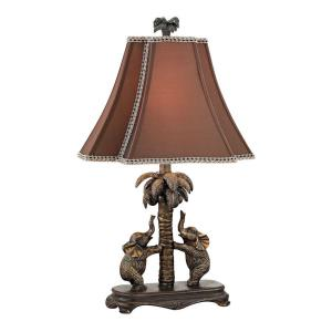 Adamslane - One Light Elephant on Palm Tree Accent Lamp