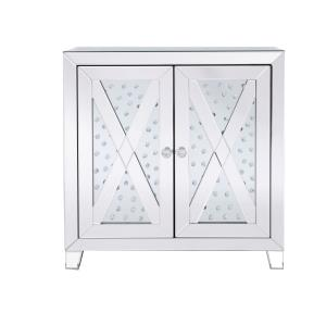 "Modern - 28"" Crystal Mirrored Two Door Cabinet"
