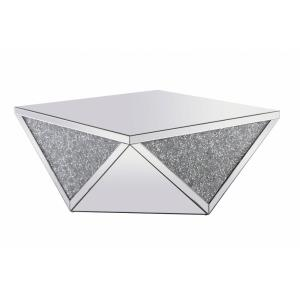 "Modern - 38"" Square Crystal Coffee Table"