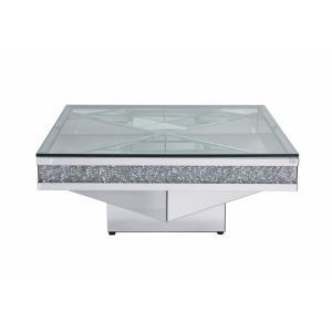 "Modern - 39"" Crystal Mirrored Coffee Table"