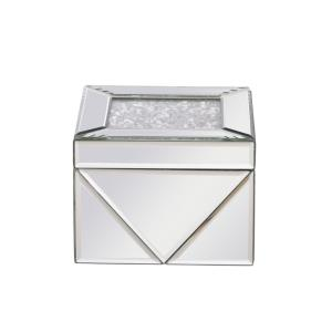 "Modern - 6"" Square Crystal Jewelry Box Silver"