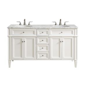 "Park Avenue - 60"" 4 Drawer Double Rectangle Bathroom Vanity Sink Set"