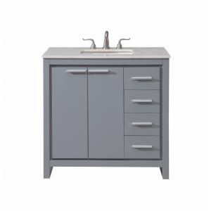 "Filipo - 36"" 4 Drawer Rectangle Single Bathroom Vanity Sink Set"