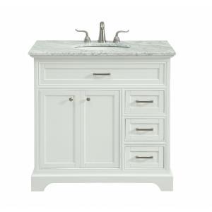 "Americana - 36"" 3 Drawer Rectangle Single Bathroom Vanity Sink Set"
