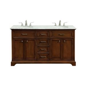 """Americana - 60"""" 4 Drawer Double Rectangle Bathroom Vanity Sink Set"""