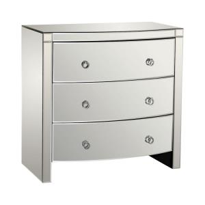 Claire - Modern/Contemporary Style w/ Luxe/Glam inspirations - Mirror and Wood Frount Mirror 3-Drawer Chest - 32 Inches tall 33 Inches wide
