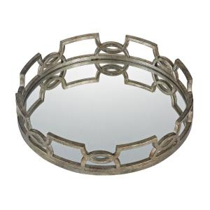 Hucknall - 20 Inch Mirrored Tray with Iron Scrollwork