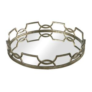 Hucknall - 16 Inch Mirrored Tray with Iron Scrollwork