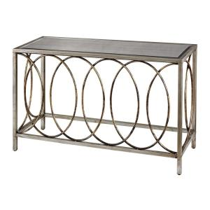 Retford - Transitional Style w/ FrenchCountry inspirations - Glass and Metal Console Table with Mirrored Top - 31 Inches tall 47 Inches wide