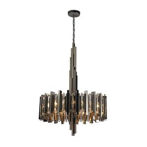 Industrialist - Modern/Contemporary Style w/ Luxe/Glam inspirations - Metal 8 Light Chandelier - 46 Inches tall 30 Inches wide