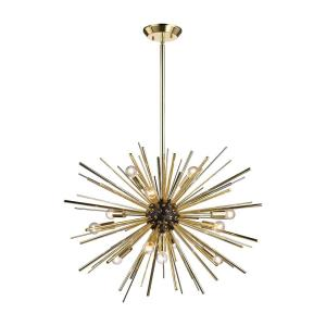 Starburst - Modern/Contemporary Style w/ Luxe/Glam inspirations - Metal 12 Light Pendant - 20 Inches tall 27 Inches wide