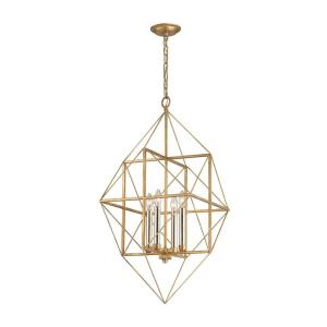 Connexions - Modern/Contemporary Style w/ Luxe/Glam inspirations - Metal 4 Light Pendant - 35 Inches tall 16 Inches wide