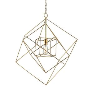 Neil - Modern/Contemporary Style w/ Luxe/Glam inspirations - Metal 1 Light Box Pendant - 32 Inches tall 28 Inches wide