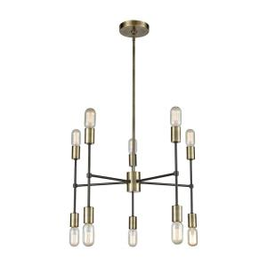 Up Down Century - Modern/Contemporary Style w/ ArtDeco inspirations - Metal 10 Light Chandelier - 14 Inches tall 24 Inches wide