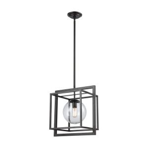 Beam Cage - Transitional Style w/ ModernFarmhouse inspirations - Glass and Metal 1 Light Pendant - 16 Inches tall 16 Inches wide