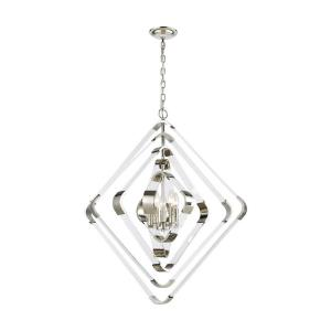 Rapid Pulse - Modern/Contemporary Style w/ Luxe/Glam inspirations - Acrylic and Metal 5 Light Chandelier - 35 Inches tall 30 Inches wide