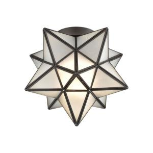 Moravian Star - Traditional Style w/ Luxe/Glam inspirations - Metal 1 Light Flush Mount - 12 Inches tall 11 Inches wide