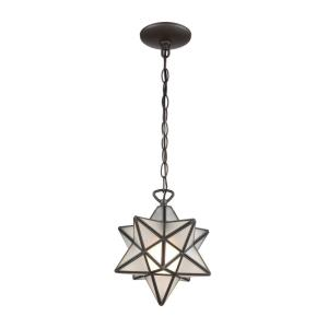Moravian Star - Transitional Style w/ ModernFarmhouse inspirations - Glass and Metal 1 Light Pendant - 10 Inches tall 9 Inches wide
