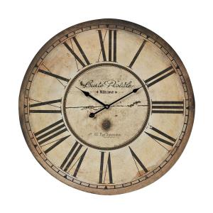 Carte Postal - Traditional Style w/ ModernFarmhouse inspirations - Iron and MDF Clock - 24 Inches tall 20 Inches wide
