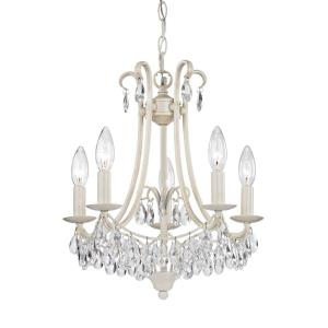 Mini Victorian - Transitional Style w/ Luxe/Glam inspirations - Crystal and Metal 5 Light Chandelier - 16 Inches tall 14 Inches wide