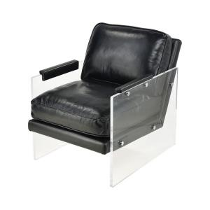 Air to the Throne - Modern/Contemporary Style w/ Luxe/Glam inspirations - Acrylic and Genuine Leather Chair - 31 Inches tall 24 Inches wide