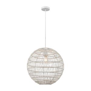 Simoom - Modern/Contemporary Style w/ Coastal/Beach inspirations - Metal and Rope 1 Light Pendant - 19 Inches tall 19 Inches wide