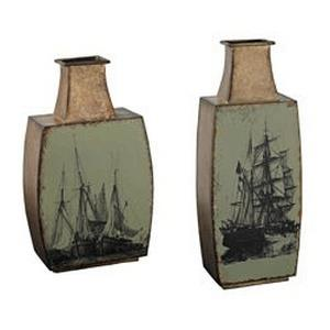 """17"""" Metal Vases with Ship Print (Set of 2)"""