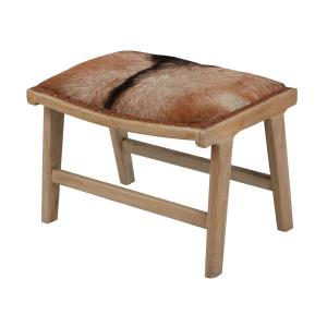 Organic Modern - Transitional Style w/ Scandinavian inspirations - Goat Leather and Teak Wood Ottoman - 18 Inches tall 16 Inches wide