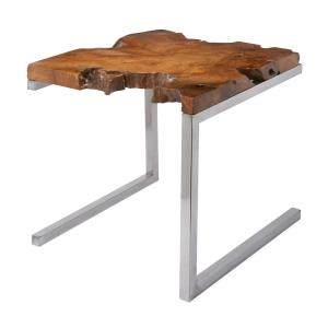 Teak - Transitional Style w/ Nature-Inspired/Organic inspirations - Stainless and Teak Table on Angular Base - 22 Inches tall 22 Inches wide